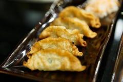 Gyoza encheu com molho de soja - culinária japonesa fotografia de stock royalty free