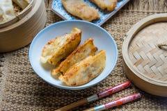 Gyoza japanska foods, Gyoza med räkakött Royaltyfria Foton