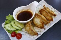 Gyoza japonais avec de la sauce et la salade images libres de droits