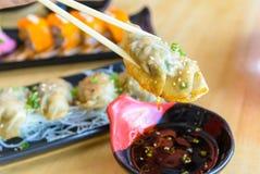 Gyoza or Jiaozi in chinese, asian dumpling popular japanese and Stock Photography