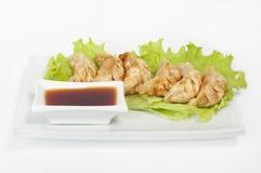Gyoza kochte mit Sojasoße stockfotos