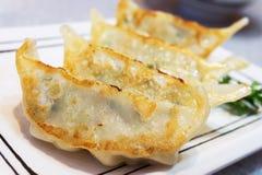 Gyoza ou japonês Fried Dumplings na placa branca com seletivo foto de stock