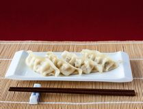 Gyoza or Potstickers on Bamboo Mat with Copy Space Stock Photography