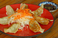 Gyoza in a red plate on a table Stock Photos
