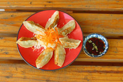 Gyoza in a red plate on a table Stock Images