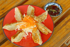 Gyoza in a red plate on a table Stock Image