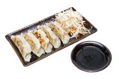 Gyoza with sauce, Japanese food Stock Image