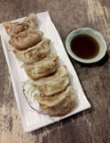 Gyoza. Vegetarian Gyoza with sauce on wood table Stock Photos