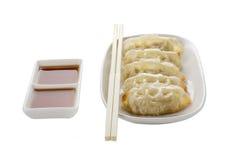 Gyoza on white plate,gyoza on white background. Fried gyoza on white plate royalty free stock photos