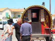 Gypsies in french Saintes Maries de la Mer. Gypsies are arrived for the Gypsy`s Pilgrimage in Les Saintes Maries de la Mer in the French Camargue. Slovak gypsies Royalty Free Stock Images
