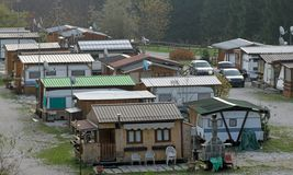 Gypsies gypsy camp on the outskirts. Of the city Stock Images