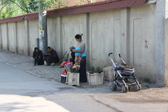 Gypsies. Gypsy woman selling flowers near a wall and another two women sloth Royalty Free Stock Photo