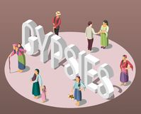 Gypsies Isometric Background. With adults and children figurines standing on perimeter of circle vector illustration Stock Photos