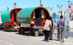 Gypsies in Saintes Maries de la Mer, France. Gypsies are arrived for the Gypsy`s Pilgrimage in Les Saintes Maries de la Mer in the French Camargue. Slovak Stock Photography