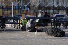 GYPSIES SLEEP ON STREET. Copenhagen / Denmark_ 29th October 2016 _  Former eastern european block gypsies sleep on street.      Photo. Francis Joseph Dean/ Royalty Free Stock Photography