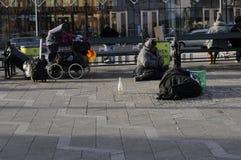 GYPSIES SLEEP ON STREET. Copenhagen / Denmark_ 29th October 2016 _  Former eastern european block gypsies sleep on street.      Photo. Francis Joseph Dean/ Royalty Free Stock Photo