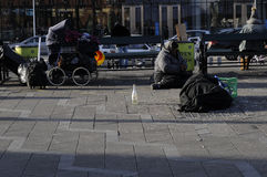 GYPSIES SLEEP ON STREET. Copenhagen / Denmark_ 29th October 2016 _  Former eastern european block gypsies sleep on street.      Photo. Francis Joseph Dean/ Stock Photography