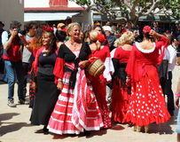 Gypsies women in Saintes Maries de la Mer, France. Gypsies are arrived for the Gypsy`s Pilgrimage in Les Saintes Maries de la Mer in the French Camargue. Slovak Royalty Free Stock Photography
