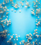 Gypsophila, Baby`s-breath flowers on blue background. White flowers frame, top view. Copy space Stock Photos