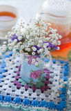 Gypsophila flowers in a blue jug Stock Photography