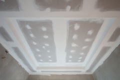Gypsum board ceiling construction site Stock Photography