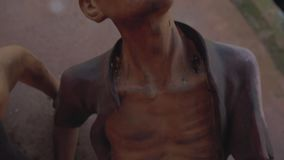 Concentration camp death pain suffering Phu Quoc. Gypsum Figures military soldiers and captives in Vietnam Concentration camp death pain suffering stock footage
