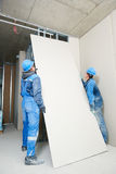 Gypsum plaster board walling installation Royalty Free Stock Image