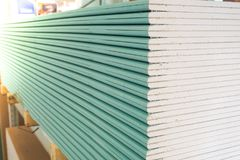 Gypsum plasterboard in the pack. Gypsum plasterboard in the pack Royalty Free Stock Photography