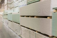 Gypsum plasterboard in the pack. Gypsum plasterboard in the pack stock image