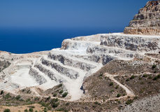 Gypsum quarry. On side of hill. Mediterranean sea in the background stock photos