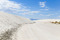 Gypsum Road. Scenic drive through the White Sands National Monument in New Mexico, USA Royalty Free Stock Photography