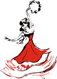 Gypsy. Beautiful gypsy dancer with tambourine vector illustration