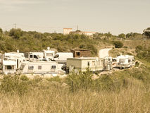 Gypsy camp. South france gypsy camp near village where they stay ilegaly from momths Stock Image