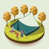 Gypsy Camping Isometric Design Concept. Gypsy camping outdoors design concept with romany family resting near tent isometric vector illustration vector illustration