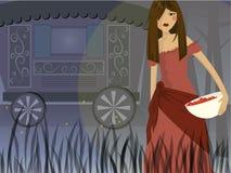 Gypsy caravan. Digital drawing of gypsy woman in front of caravan holding a bowl of cherries vector illustration