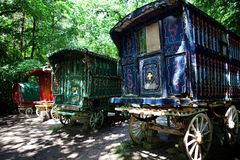 Gypsy caravan forest cart Royalty Free Stock Photo