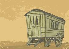 Gypsy caravan wagon. Sketch of gypsy caravan wagon colored in sepia tones royalty free illustration