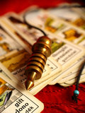 Gypsy cards. Diviners workshop. Gypsy cards and pendulum Royalty Free Stock Image
