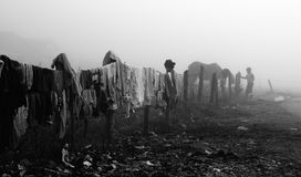 Gypsy clothes drying on line Stock Image