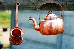 Gypsy copper kitchenware. Gypsy copper hand made kitchenware royalty free stock image