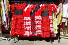 Gypsy costume of flamenco dancer stock photo