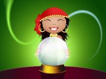 Gypsy with crystal ball Stock Photos