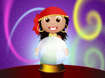 Gypsy with crystal ball Stock Photography