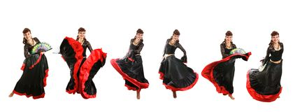 Gypsy dancer. Gypsy woman dancing with fan Stock Images