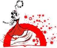 Gypsy dancer. With a fan royalty free illustration
