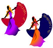 Gypsy Dancing Woman Stars 2. A clip art illustration of 2 gypsy women dancers with stars in rich colors Stock Photos