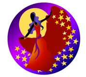 Gypsy Dancing Woman Stars. A clip art illustration of a gypsy woman dancing under the moon with stars in rich colors Royalty Free Stock Image