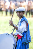 A gypsy drummer beats his drum at the Kirkpinar Turkish Oil Wrestling Festival in Edirne in Turkey. Kirkpinar is the most famous wrestling festival in Turkey royalty free stock photography