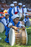 A gypsy drummer relaxes between performances at the Kirkpinar Turkish Oil Wrestling Festival in Edirne in Turkey. Stock Image