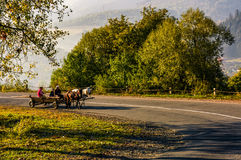 Gypsy family ride a horse cart on serpentine. Volovets, Ukraine - SEP 30, 2016: gypsy family ride a horse cart on serpentine in countryside area. bright autumnal Royalty Free Stock Photo